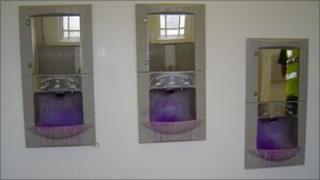 Dye-covered hand wash basins at Montpelier Garden gent