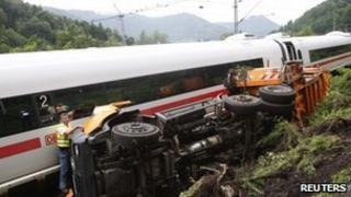The wreckage of the crash near Lambrecht