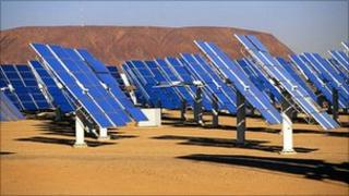 Solar panels at solar energy plant
