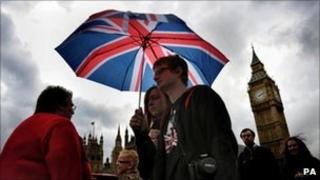 Couple with umbrella in London