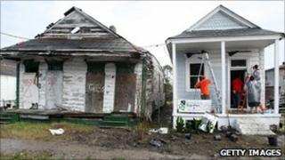 Workers rebuilding a house in New Orleans
