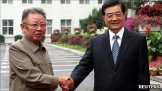 North Korea leader Kim Jong-il and Chinese President Hu Jintao in Changchun, China (27 August 2010)
