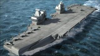 Image of planned Royal Navy aircraft carrier currently being built