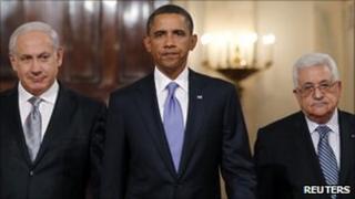 Benjamin Netanyahu, Barack Obama and Mahmoud Abbas at the White House, 1 September 2010