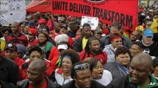 Civil servants protest during a strike in Cape Town. Photo: 26 August 2010