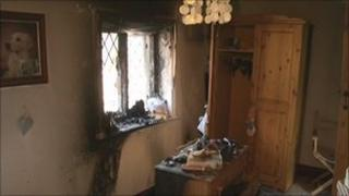 Fire-damaged room
