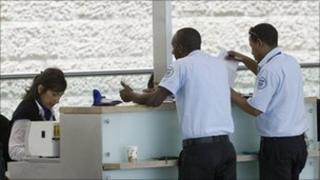 Israeli immigration officers at Ben Gurion airport, 1 Jun 10