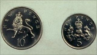 Ten pence piece and a five pence piece