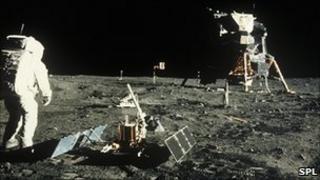Buzz Aldrin walking on the moon in 1969