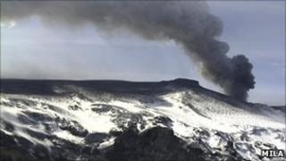 Plume of ash rising from a volcano in southern Iceland's Eyjafjallajokull glacier