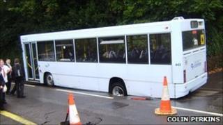 Bus in hole in road. Pic: Colin Perkins