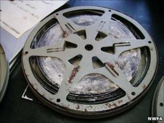 """Terminal fungal mould on 45 year old safety film. Film title: """"places like Africa"""""""