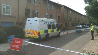 Police at the scene of the fire in Milton Keynes
