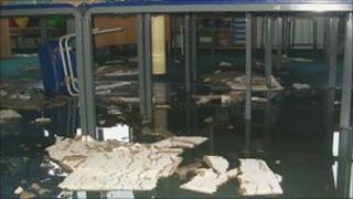 Flood damage at the school