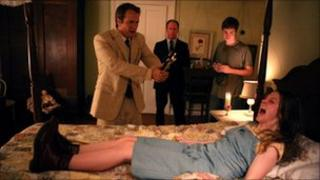 Patrick Fabian, Louis Herthum, Caleb Landry Jones and Ashley Bell in The Last Exorcism
