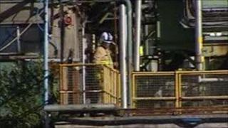 Fireman at Linamar car parts factory in Swansea