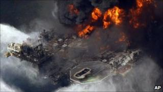 BP's Deepwater Horizon rig burning