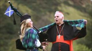 Cardinal Keith O'Brien and piper Louise Marshall Millington