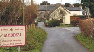 The village of Myddfai in Carmarthenshire