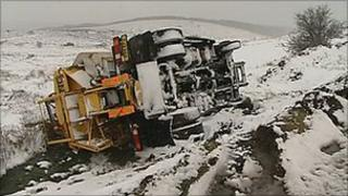 Overturned gritter on Dartmoor