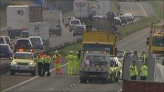 Scene of fatal crash on M6 in Cheshire
