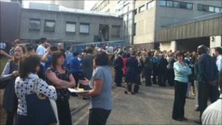 Staff outside the hospital