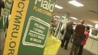 Plaid Cymru board at conference