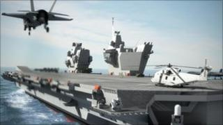 Computer generated image of aircraft carrier