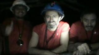 Some of the trapped miners in a screen grab, 1 September 2010