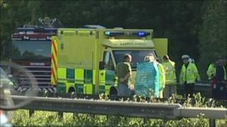 Emergency services at the scene of the crash on the M2