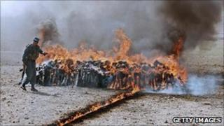 Narcotics being burnt in Afghanistan