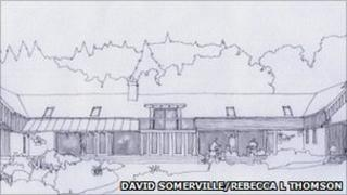 Sketch by David Somerville of eco-lodge. Image copyright of Rebecca L Thomson