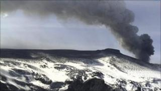 A plume of ash rises from the volcano in the Eyjafjallajokull glacier, Iceland, April 2010
