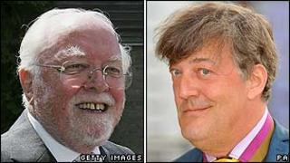 Lord Attenborough and Stephen Fry