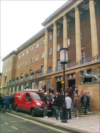 Protesters outside Norwich City Hall