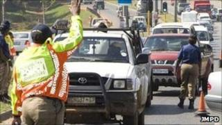 Municipal police during a road block in Johannesburg