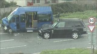 Crashed minibus in Weston-super-Mare