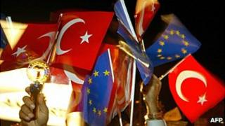Turkish and EU flags at event in 2004