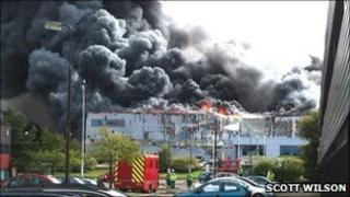 Fire at Brucefield Industrial Estate, Livingston. Photo by Scott Wilson