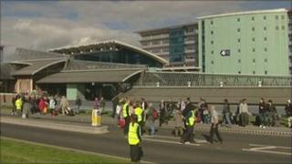 Outside Terminal One at Manchester Airport at the height of the scare