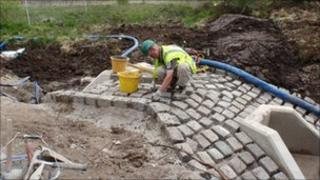 The cobbles used to line the streets of Bangor and Caernarfon