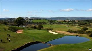 View of the 18th hole at the Celtic Manor resort