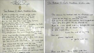 The two framed pages, signed by the author, were originally written as part of Harry Potter and the Chamber of Secrets