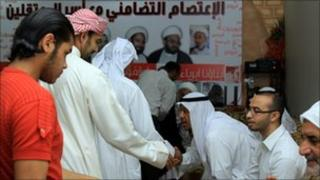 Relatives of detained Shia activists stage a sit-in at a home in Nuweidrat village, Bahrain 14 September