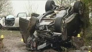 The Range Rover and silver saloon involved in the crash