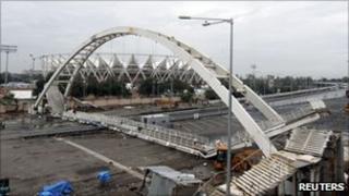 Collapsed pedestrian bridge outside the Jawaharlal Nehru Stadium in Delhi on 21 September 2010