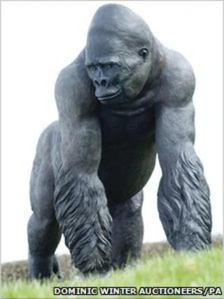 Life-size bronze cast of Jambo the gorilla. Pic: Dominic Winter Auctioneers/PA