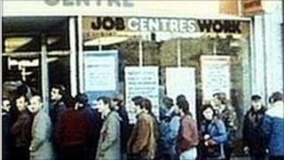Dole queue outside Job Centre 1983