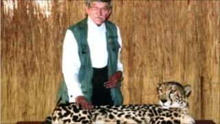 Dr Stamp pictured with a cheetah in Kenya