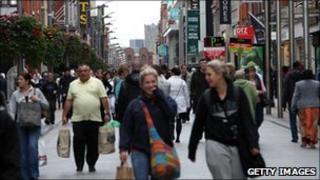 Shoppers in Dublin